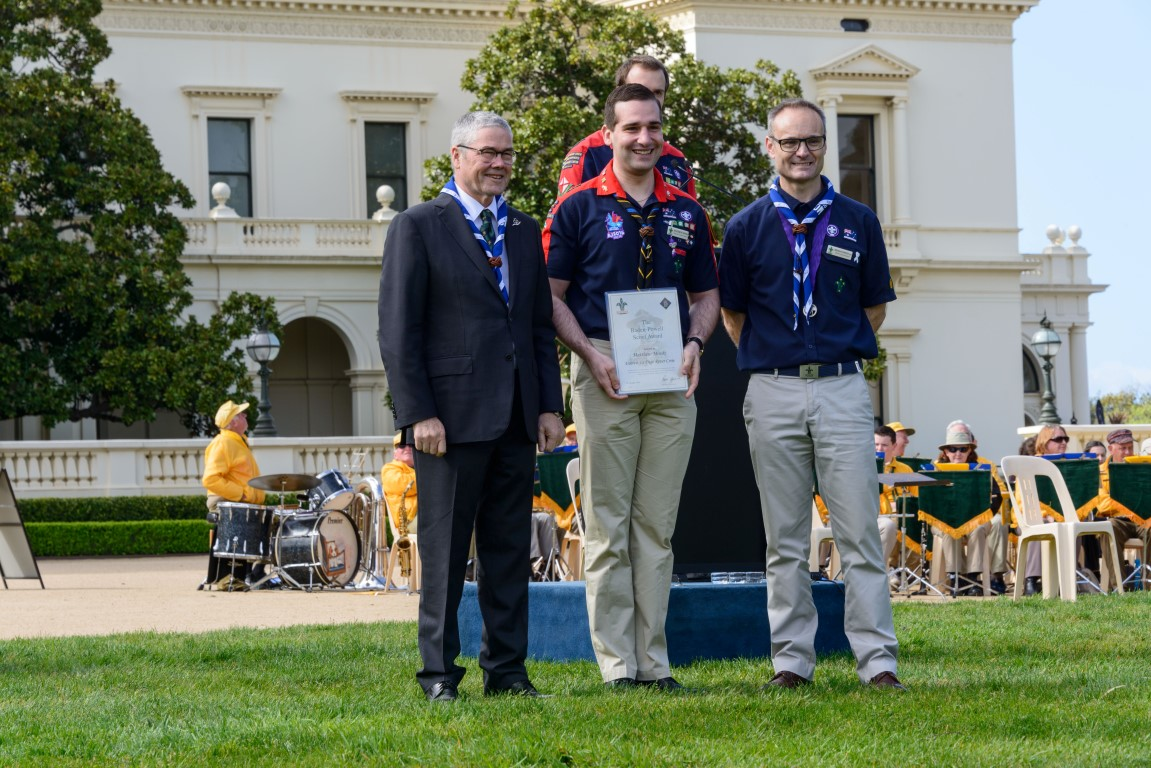 Matt receives his Baden Powell award at Government House